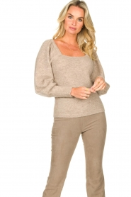 Dante 6 |  Knitted sweater with puff sleeves Alexa | beige  | Picture 2