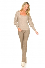 Dante 6 |  Knitted sweater with puff sleeves Alexa | beige  | Picture 3