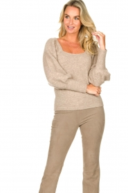 Dante 6 |  Knitted sweater with puff sleeves Alexa | beige  | Picture 4
