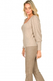 Dante 6 |  Knitted sweater with puff sleeves Alexa | beige  | Picture 5