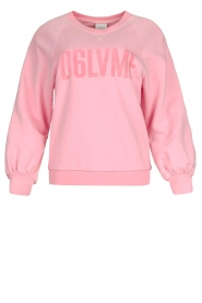 Dante 6 |  Cotton sweater with text print Love Me | pink