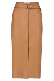 Freebird |   Faux leather midi skirt Bryce | brown  | Picture 1