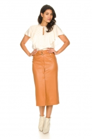 Freebird |   Faux leather midi skirt Bryce | brown  | Picture 6
