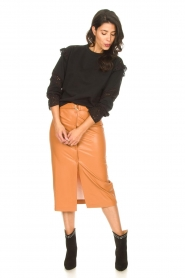Freebird |   Faux leather midi skirt Bryce | brown  | Picture 3