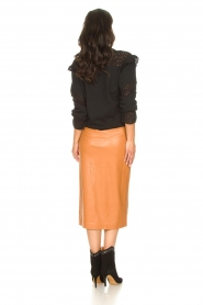 Freebird |   Faux leather midi skirt Bryce | brown  | Picture 5