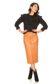 Freebird |   Faux leather midi skirt Bryce | brown  | Picture 2