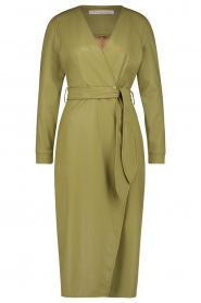 Freebird |  Faux leather midi wrap dress Fammy | green  | Picture 1