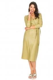 Freebird    Faux leather midi wrap dress Fammy   green    Picture 3