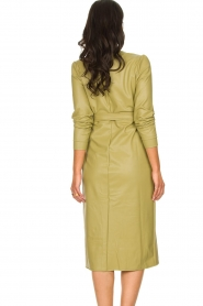 Freebird |  Faux leather midi wrap dress Fammy | green  | Picture 6