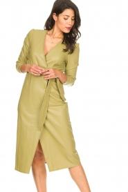 Freebird    Faux leather midi wrap dress Fammy   green    Picture 2