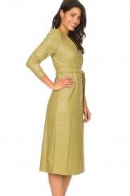 Freebird |  Faux leather midi wrap dress Fammy | green  | Picture 5