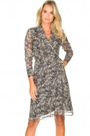 Freebird |  Printed midi wrap dress Isaya | black  | Picture 4