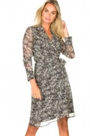 Freebird |  Printed midi wrap dress Isaya | black  | Picture 2