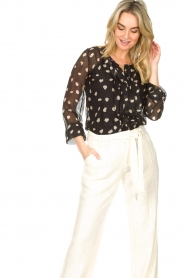 Freebird |  Blouse with leopard print Chelly | black  | Picture 5