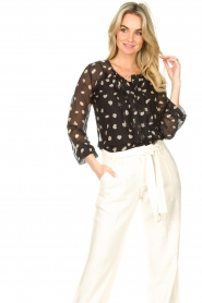 Freebird |  Blouse with leopard print Chelly | black  | Picture 2