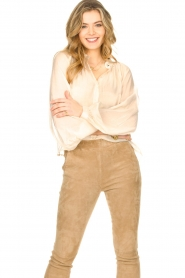 Freebird |  Sheer blouse with puff sleeves Frederica | natural  | Picture 2