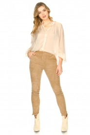 Freebird |  Sheer blouse with puff sleeves Frederica | natural  | Picture 3