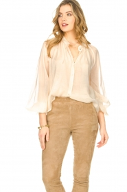 Freebird |  Sheer blouse with puff sleeves Frederica | natural  | Picture 4