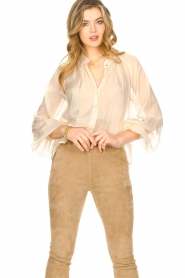 Freebird |  Sheer blouse with puff sleeves Frederica | natural  | Picture 5