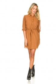 Freebird |  Printed dress with drawstring Bridget | brown  | Picture 3