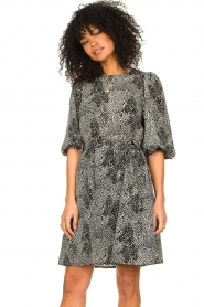 Freebird |  Dotted dress with puff sleeves Anou | black  | Picture 2