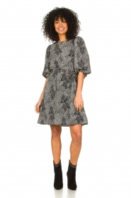 Freebird |  Dotted dress with puff sleeves Anou | black  | Picture 3