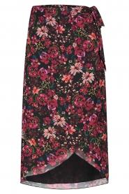 Freebird |  Floral midi skirt Zwaan | black  | Picture 1