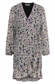 Freebird    Wrap dress with puff sleeves Rosy   multi    Picture 1