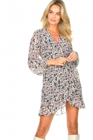 Freebird |  Wrap dress with puff sleeves Rosy | multi  | Picture 2