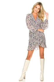 Freebird |  Wrap dress with puff sleeves Rosy | multi  | Picture 3