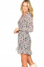 Freebird |  Wrap dress with puff sleeves Rosy | multi  | Picture 5