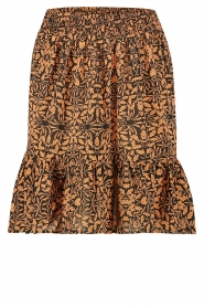 Freebird |  Skirt in leaf print Luus | orange  | Picture 1