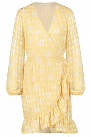 Freebird |  Wrap dress with puff sleeves Rosy Jacq | yellow  | Picture 1