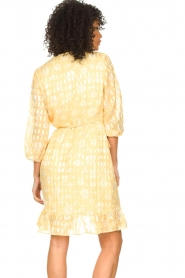 Freebird :  Wrap dress with puff sleeves Rosy Jacq | yellow - img7