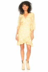 Freebird :  Wrap dress with puff sleeves Rosy Jacq | yellow - img3