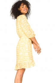 Freebird :  Wrap dress with puff sleeves Rosy Jacq | yellow - img6