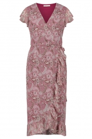 Freebird |  Midi wrap dress with paisley print Rosy | red  | Picture 1