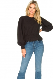 Freebird |  Sweater with balloon sleeves Viccy | black  | Picture 2