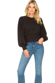 Freebird |  Sweater with balloon sleeves Viccy | black  | Picture 5
