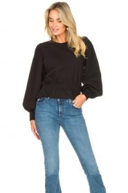Freebird |  Sweater with balloon sleeves Viccy | black  | Picture 4
