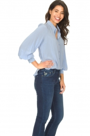 Second Female |  Silk blouse with puff sleeves Thorin | blue  | Picture 5