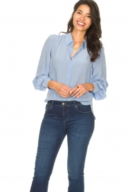 Second Female |  Silk blouse with puff sleeves Thorin | blue  | Picture 2
