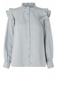 Second Female | Ruches blouse Bella | blauw   | Afbeelding 1