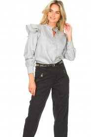 Second Female | Ruches blouse Bella | blauw   | Afbeelding 6