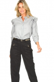 Second Female | Ruches blouse Bella | blauw   | Afbeelding 4