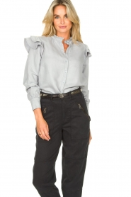 Second Female | Ruches blouse Bella | blauw   | Afbeelding 5
