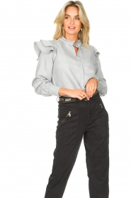 Second Female | Ruches blouse Bella | blauw   | Afbeelding 2