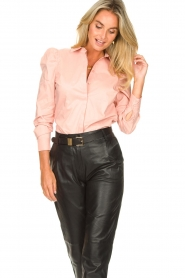 Second Female |  Stretch blouse with puff sleeves Marlene | pink  | Picture 4