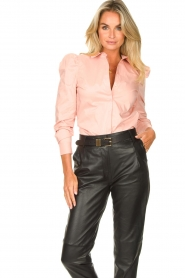 Second Female |  Stretch blouse with puff sleeves Marlene | pink  | Picture 2