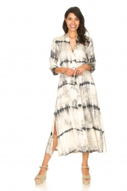 Rabens Saloner :  Wrap dress with tie dye print Sandy | natural - img2